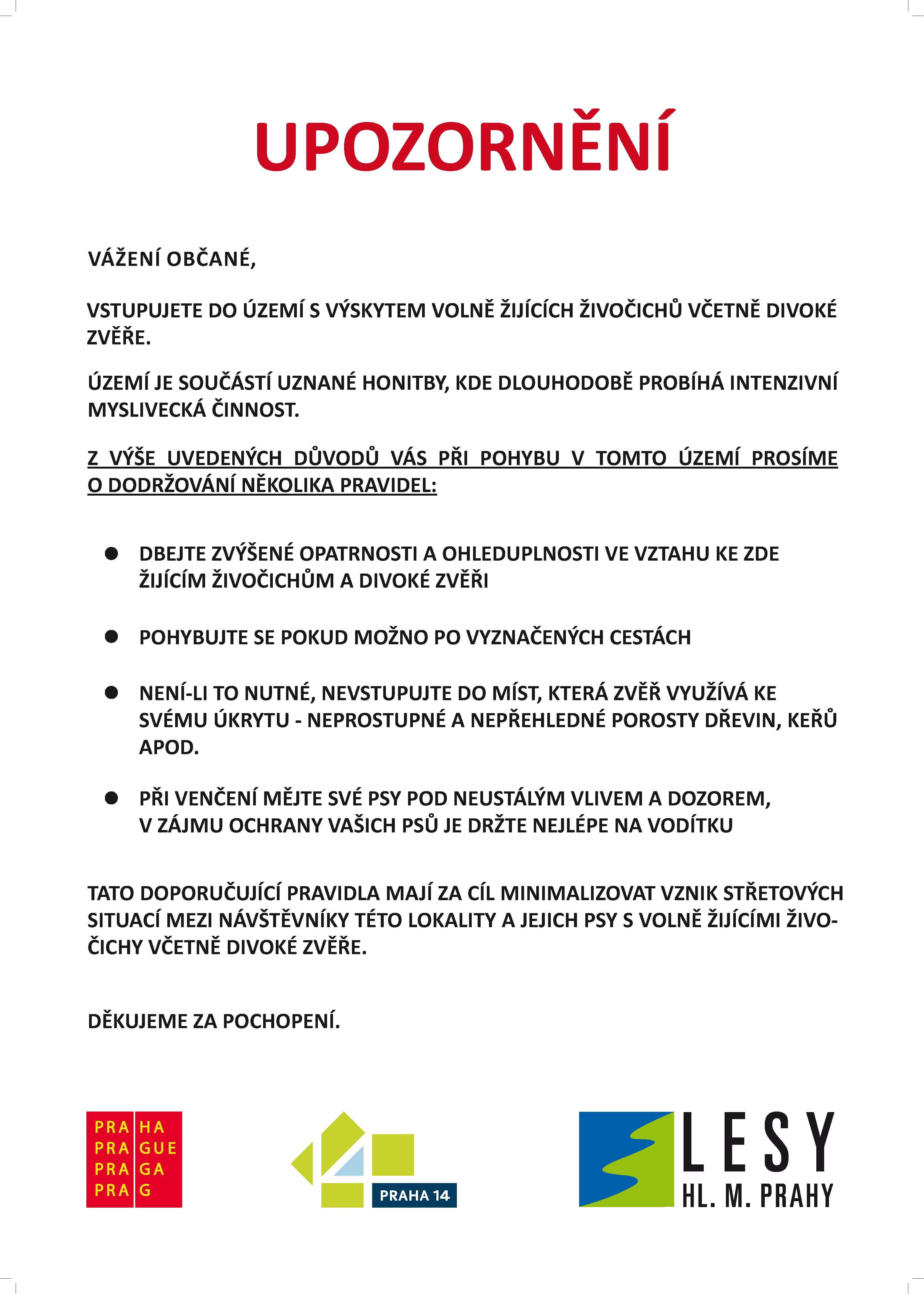 upozornění Praha 14