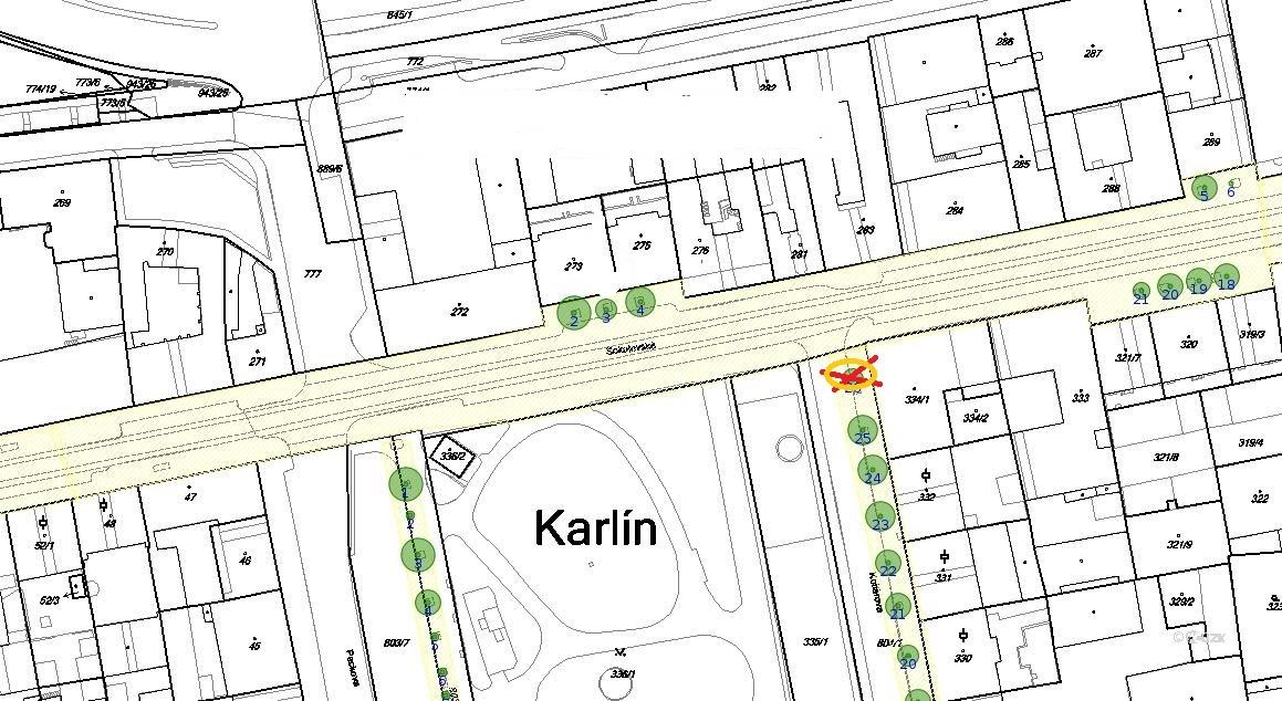 kácení a výsadby Sokolovská - Karlínské náměstí