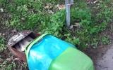 Zničený odpadkový koš